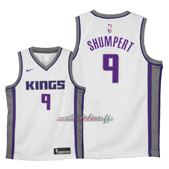 Maillot NBA Enfant Sacramento Kings NO.9 Iman Shumpert Blanc Association 2018 Pas Cher