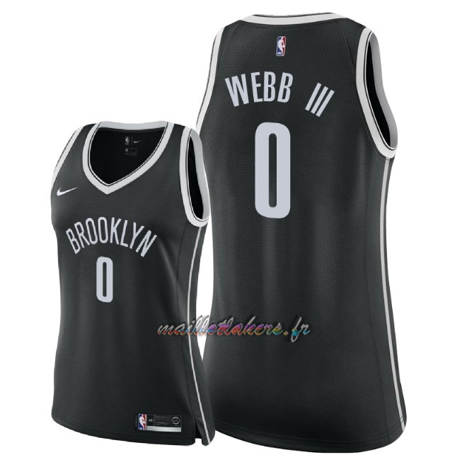 Maillot NBA Femme Brooklyn Nets NO.0 James Webb III Noir Icon 2018 Pas Cher