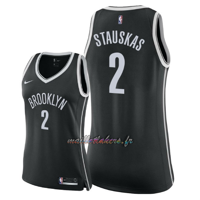 Maillot NBA Femme Brooklyn Nets NO.2 Nik Stauskas Noir Icon 2018 Pas Cher