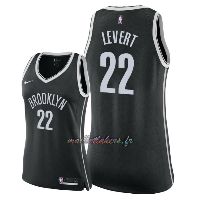 Maillot NBA Femme Brooklyn Nets NO.22 Caris LeVert Noir Icon 2018 Pas Cher