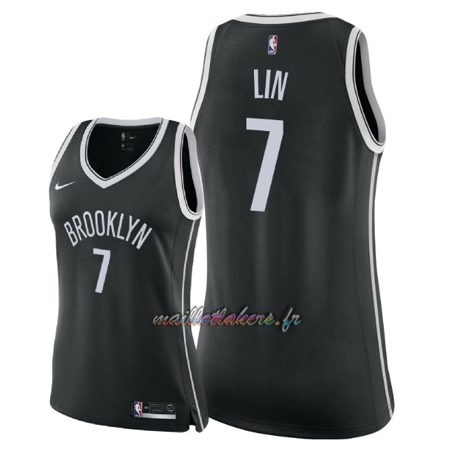 Maillot NBA Femme Brooklyn Nets NO.7 Jeremy Lin Noir Icon 2018 Pas Cher