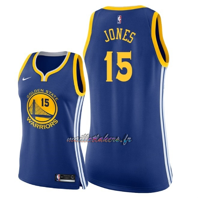Maillot NBA Femme Golden State Warriors NO.15 Damian Jones Bleu Icon 2018 Pas Cher