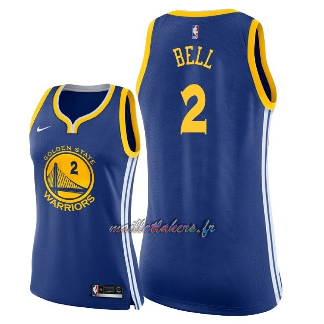 Maillot NBA Femme Golden State Warriors NO.2 Jordan Bell Bleu Icon 2018 Pas Cher