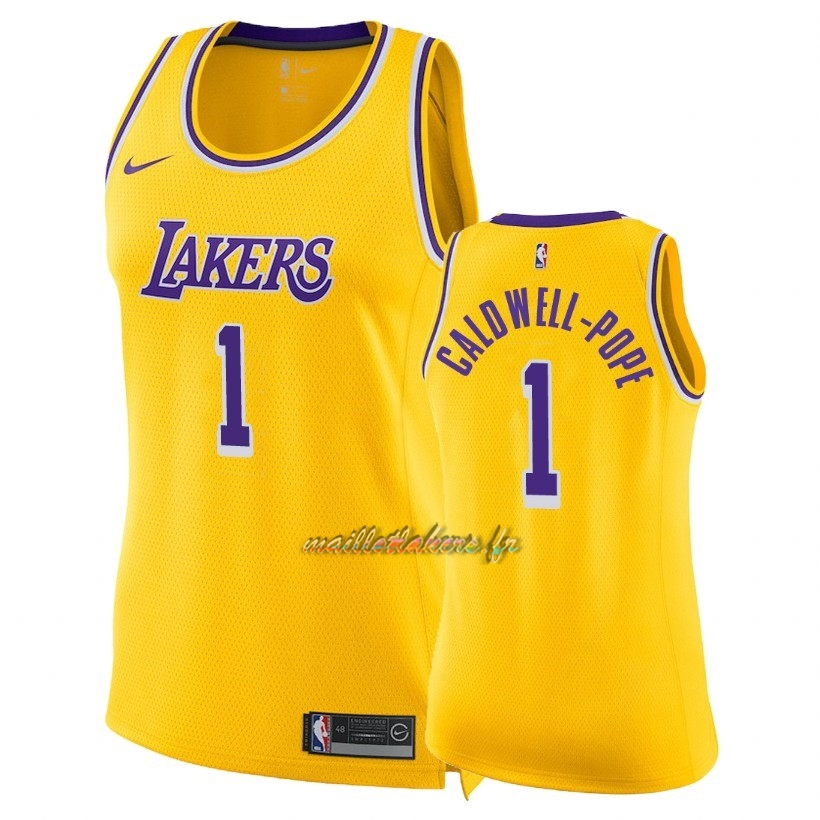 Maillot NBA Femme Los Angeles Lakers NO.1 Kentavious Caldwell Pope Jaune Icon 2018-19 Pas Cher