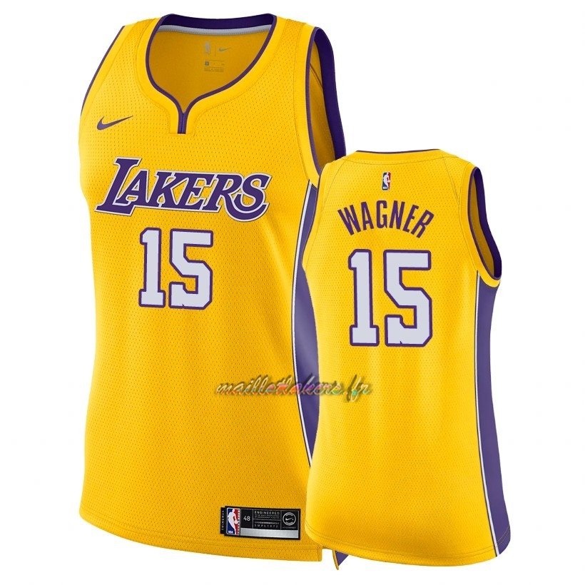 Maillot NBA Femme Los Angeles Lakers NO.15 Moritz Wagner Jaune Icon 2018 Pas Cher