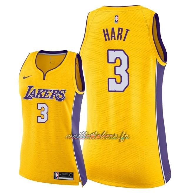 Maillot NBA Femme Los Angeles Lakers NO.3 Josh Hart Jaune Icon 2018 Pas Cher
