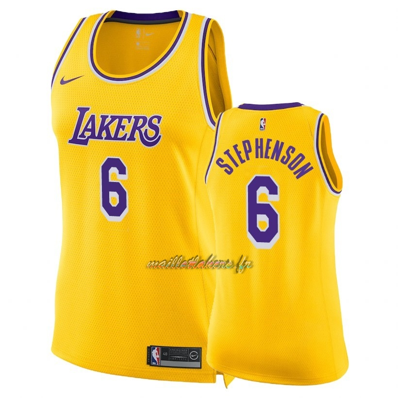 Maillot NBA Femme Los Angeles Lakers NO.6 Lance Stephenson Jaune Icon 2018-19 Pas Cher