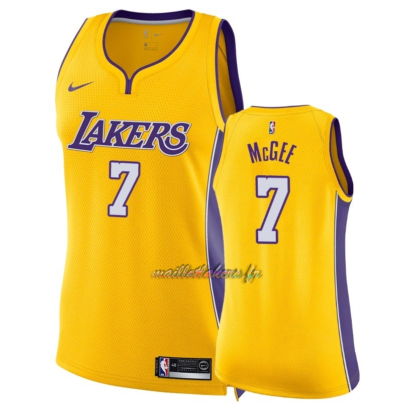 Maillot NBA Femme Los Angeles Lakers NO.7 JaVale McGee Jaune Icon 2018 Pas Cher