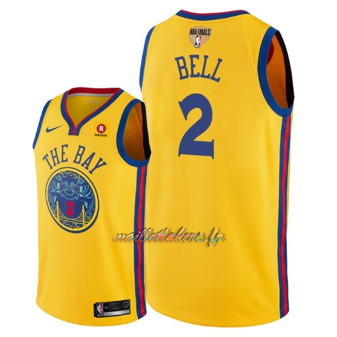 Maillot NBA Golden State Warriors 2018 Final Champions NO.2 Jordan Bell Jaune Ville Patch Pas Cher