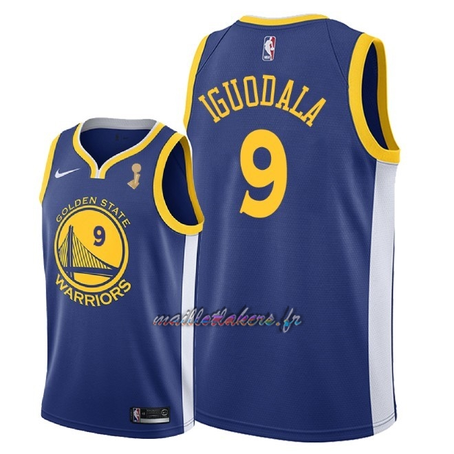Maillot NBA Golden State Warriors 2018 Final Champions NO.9 Andre Iguodala Bleu Pas Cher