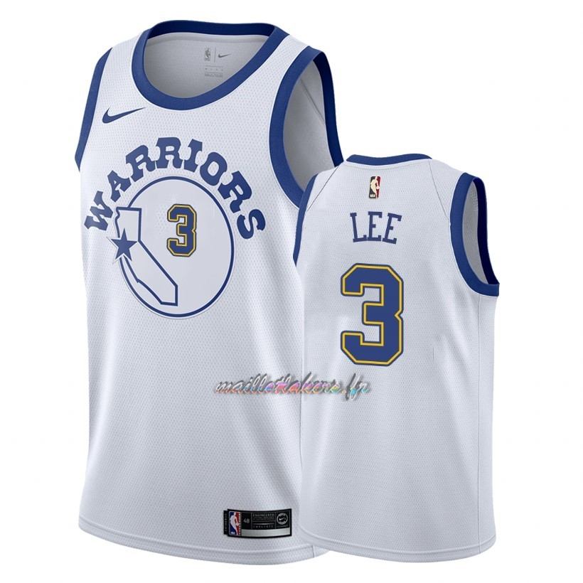 Maillot NBA Nike Golden State Warriors NO.3 Damion Lee Nike Retro Blanc 2018 Pas Cher