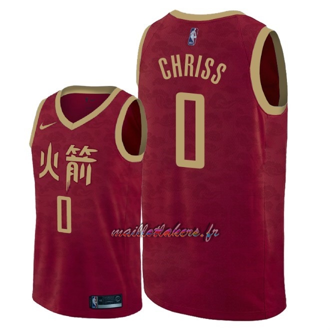 Maillot NBA Nike Houston Rockets NO.0 Marquese Chriss Nike Rouge Ville 2018-19 Pas Cher