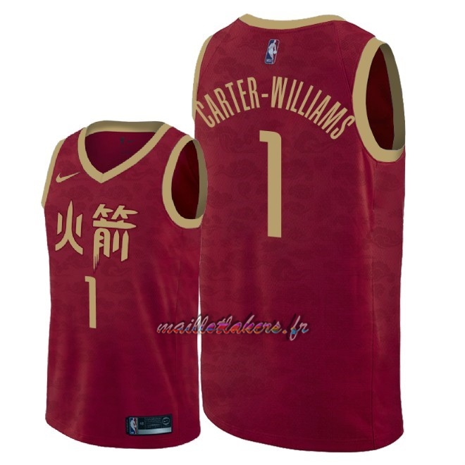 Maillot NBA Nike Houston Rockets NO.1 Michael Carter Williams Nike Rouge Ville 2018-19 Pas Cher