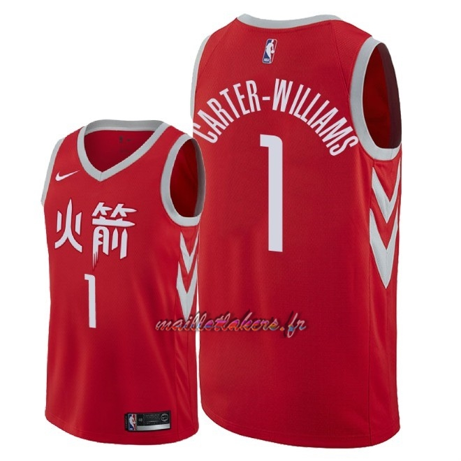 Maillot NBA Nike Houston Rockets NO.1 Michael Carter Williams Nike Rouge Ville 2018 Pas Cher