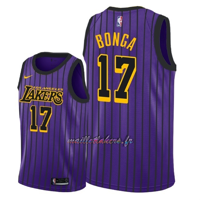 Maillot NBA Nike Los Angeles Lakers NO.17 Isaac Bonga Nike Pourpre Ville 2018-19 Pas Cher