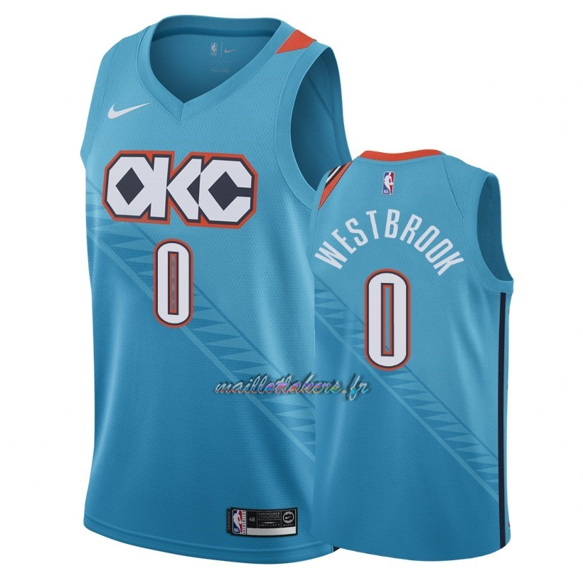 Maillot NBA Nike Oklahoma City Thunder NO.0 Russell Westbrook Nike Turquoise Ville 2018-19 Pas Cher