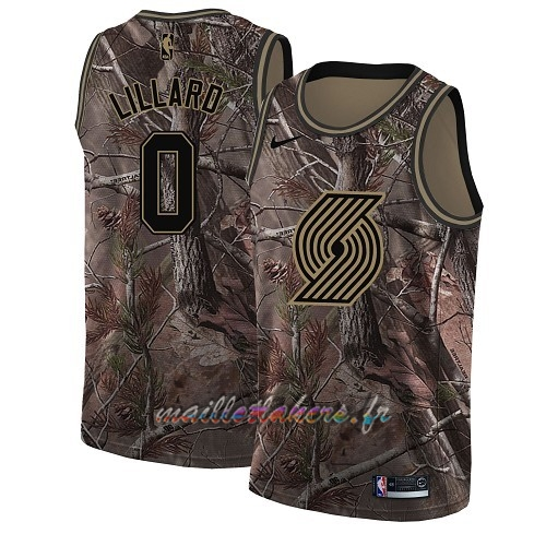 3bd9bef9c856f Maillot NBA Portland Trail Blazers NO.0 Damian Lillard Camo Swingman  Collection Realtree 2018 Pas