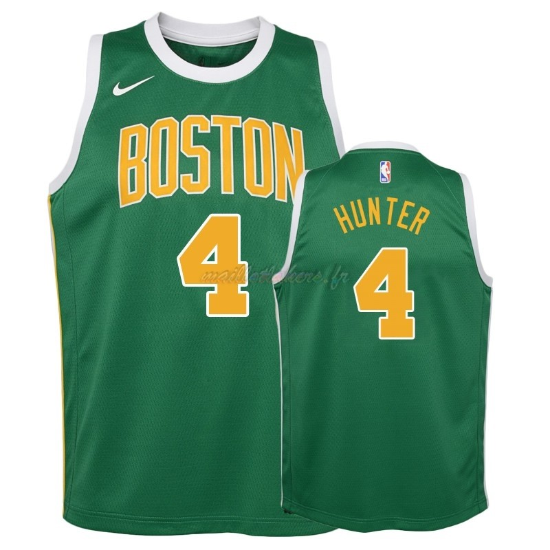 Maillot NBA Enfant Earned Edition Boston Celtics NO.4 R.J. Hunter Vert 2018-19 Pas Cher
