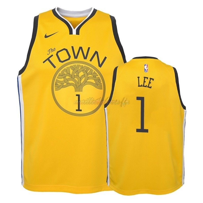 Maillot NBA Enfant Earned Edition Golden State Warriors NO.1 Damion Lee Jaune 2018-19 Pas Cher