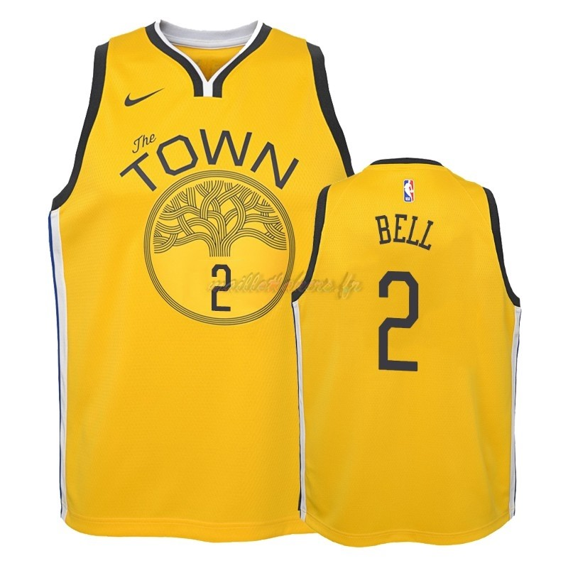Maillot NBA Enfant Earned Edition Golden State Warriors NO.2 Jordan Bell Jaune 2018-19 Pas Cher