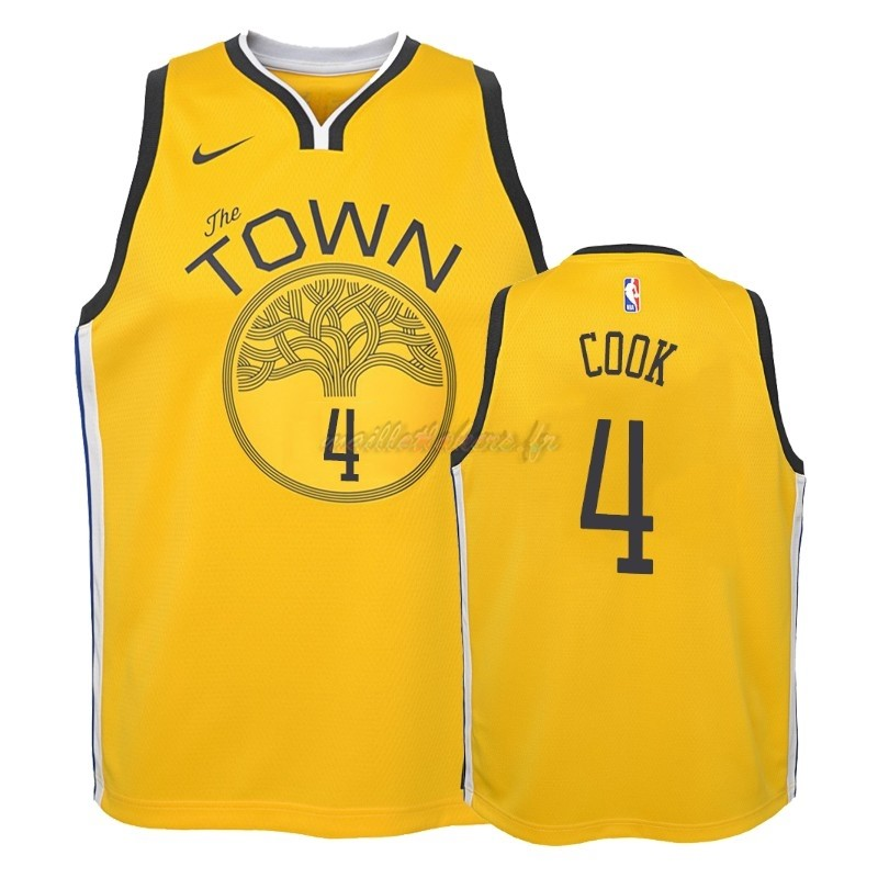 Maillot NBA Enfant Earned Edition Golden State Warriors NO.4 Quinn Cook Jaune 2018-19 Pas Cher
