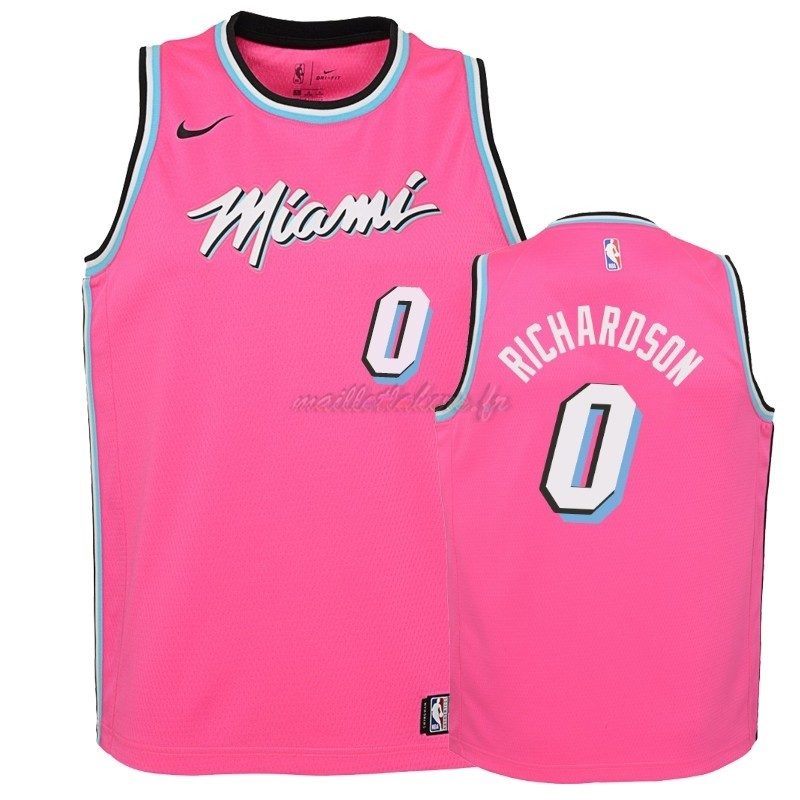 Maillot NBA Enfant Earned Edition Miami Heat NO.0 Josh Richardson Rose 2018-19 Pas Cher