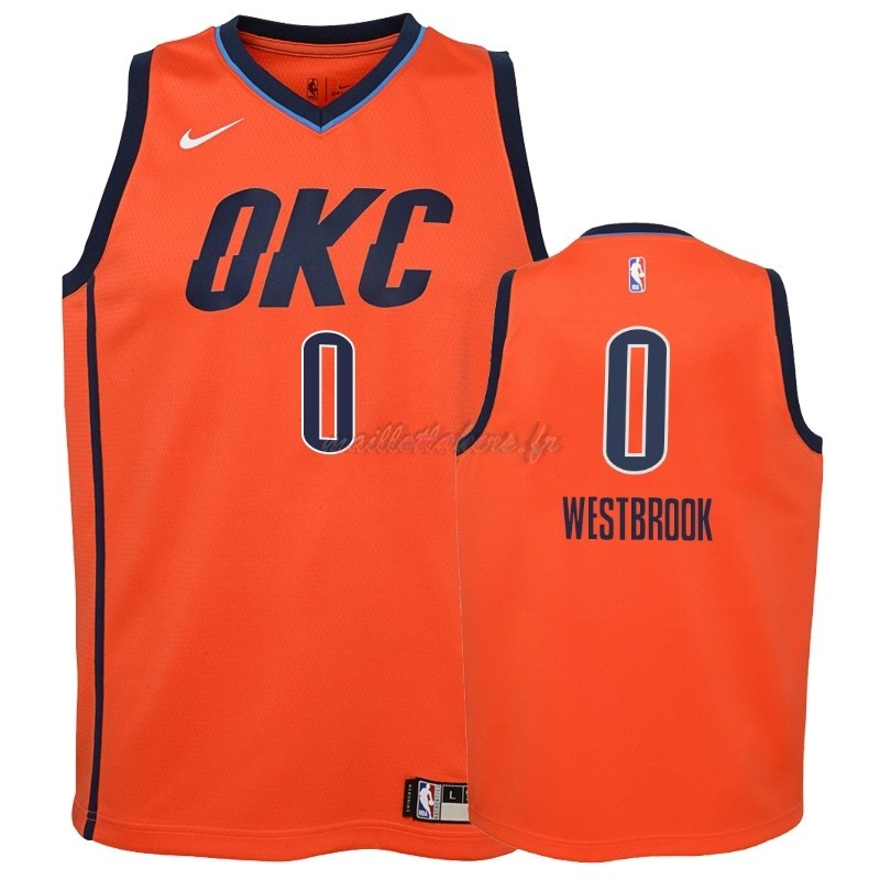 Maillot NBA Enfant Earned Edition Oklahoma City Thunder NO.0 Russell Westbrook Orange 2018-19 Pas Cher