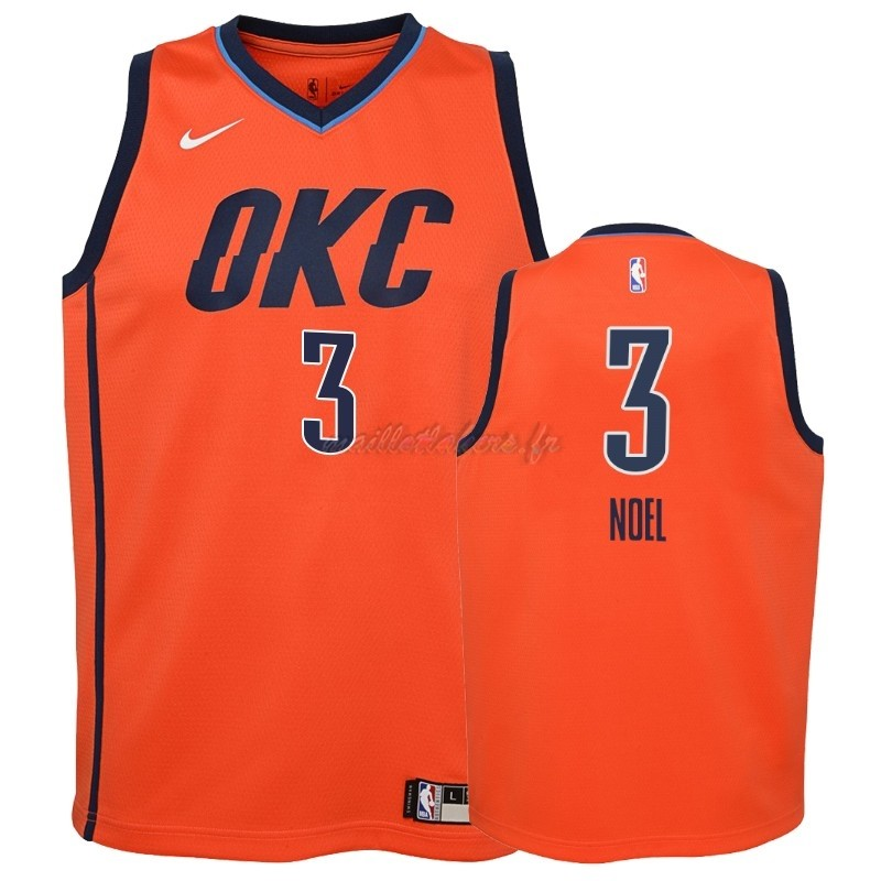 Maillot NBA Enfant Earned Edition Oklahoma City Thunder NO.3 Nerlens Noel Orange 2018-19 Pas Cher
