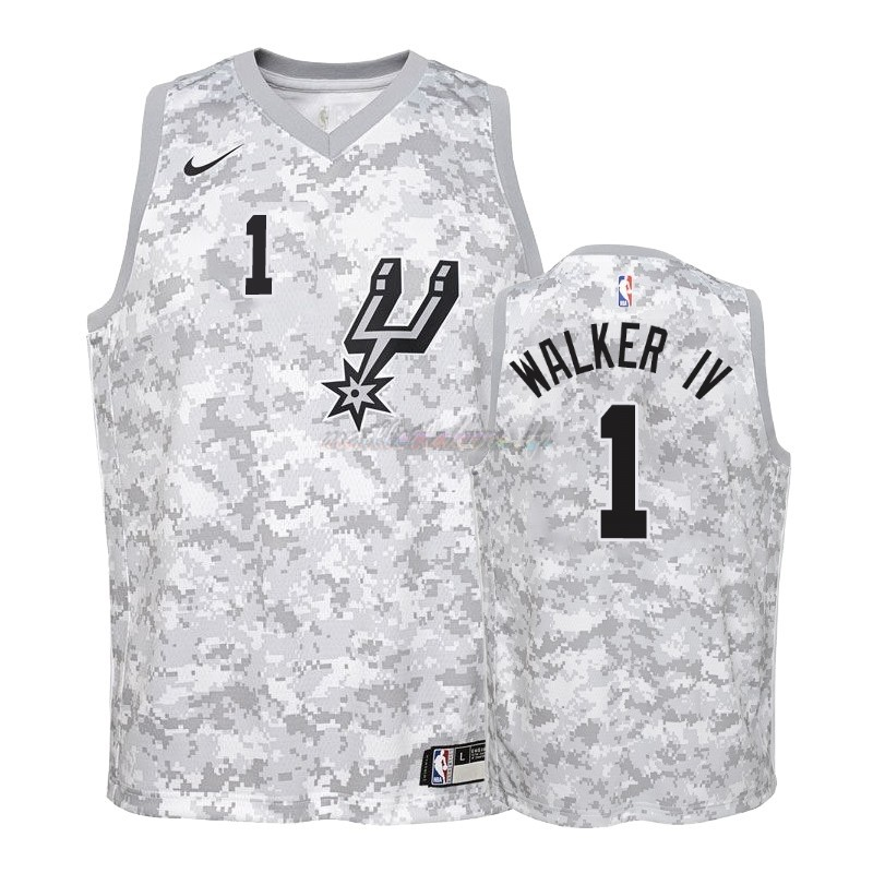 Maillot NBA Enfant Earned Edition San Antonio Spurs NO.1 Lonnie Walker Gris 2018-19 Pas Cher