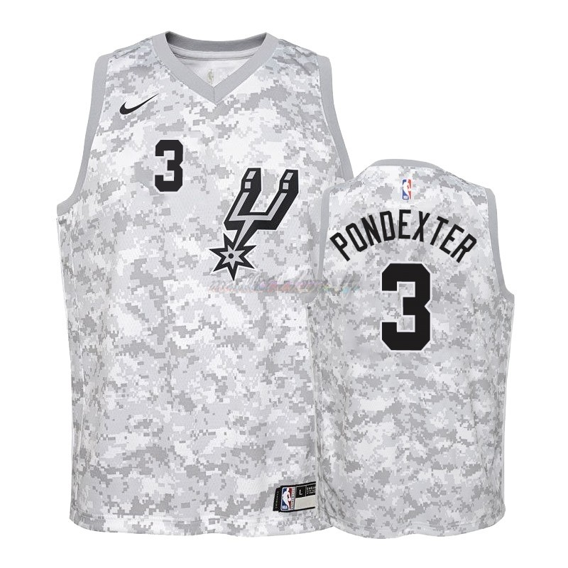 Maillot NBA Enfant Earned Edition San Antonio Spurs NO.3 Quincy Pondexter Gris 2018-19 Pas Cher