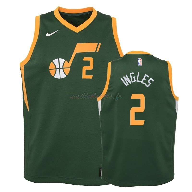 Maillot NBA Enfant Earned Edition Utah Jazz NO.2 Joe Ingles Vert 2018-19 Pas Cher