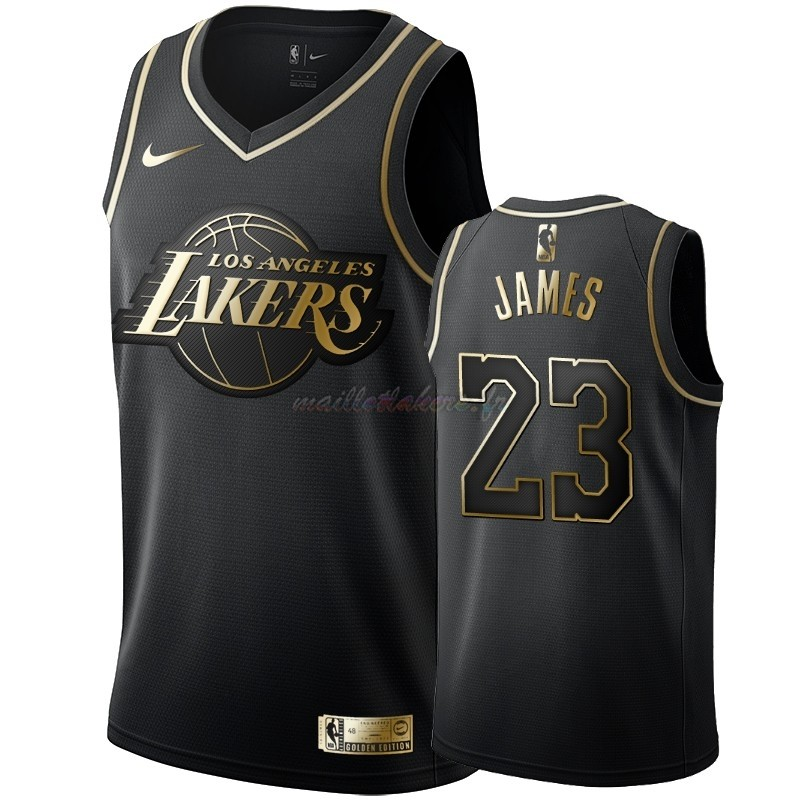 Maillot NBA Nike Los Angeles Lakers NO.23 LeBron James Or Edition Pas Cher