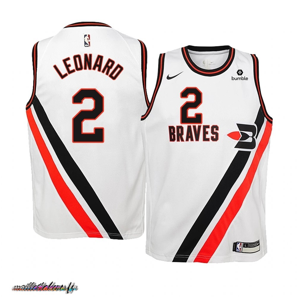 Maillot NBA Enfant Earned Edition Los Angeles Clippers NO.2 Kawhi Leonard Blanc Pas Cher