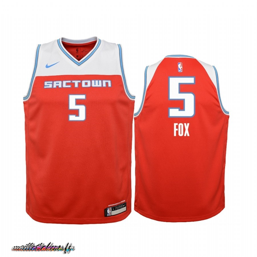 Maillot NBA Enfant Sacramento Kings NO.5 Adam Fox Nike Rouge Ville 2019-20 Pas Cher