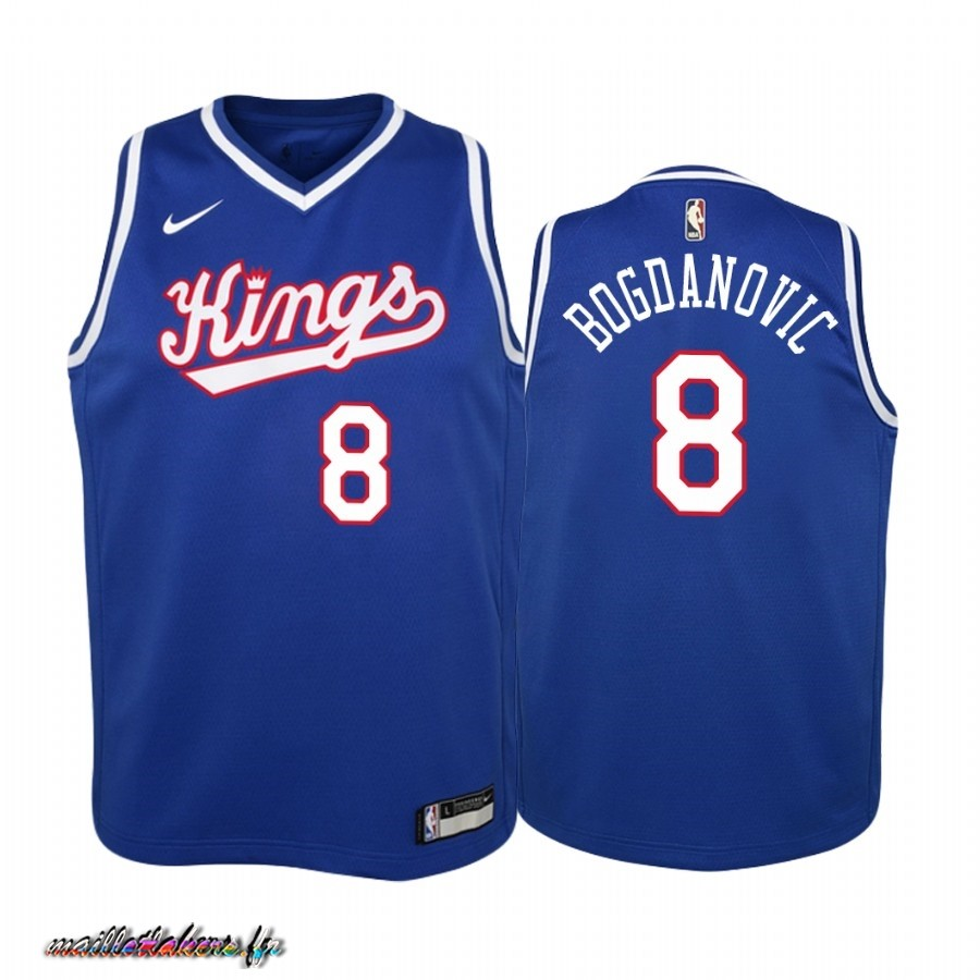 Maillot NBA Enfant Sacramento Kings NO.8 Bogdan Bogdanovic Bleu Throwback Pas Cher