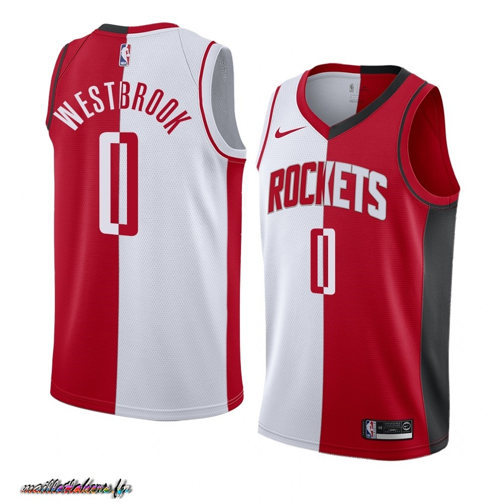 Maillot NBA Nike Houston Rockets NO.0 Russell Westbrook Rouge Blanc Split Edition Pas Cher