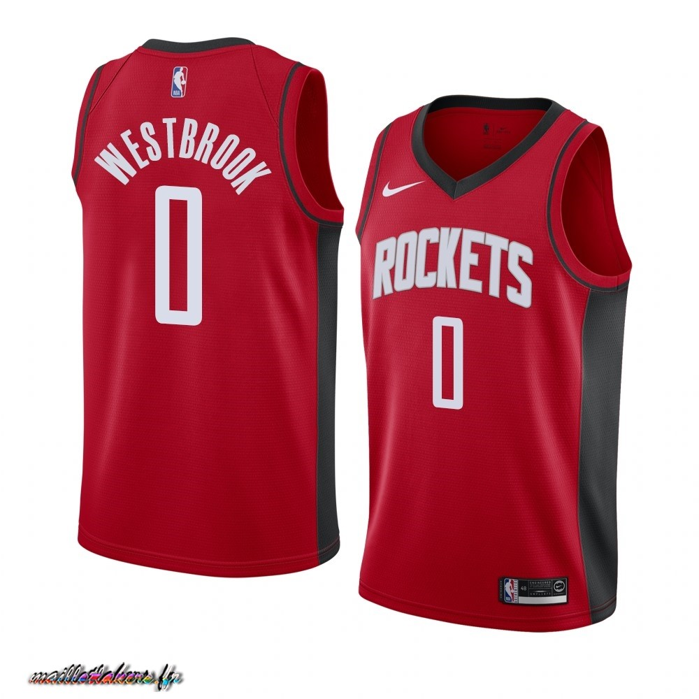 Maillot NBA Nike Houston Rockets NO.0 Russell Westbrook Rouge Icon 2019-20 Pas Cher