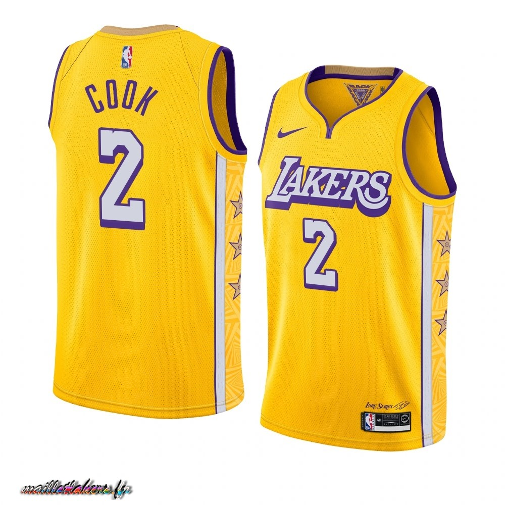 Maillot NBA Nike Los Angeles Lakers NO.2 Quinn Cook Nike Jaune Ville 2019-20 Pas Cher