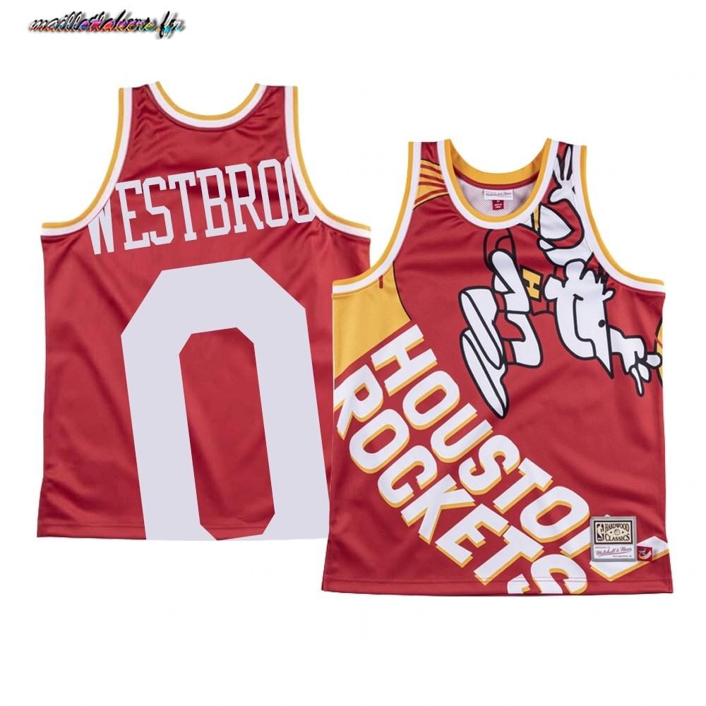Maillot NBA Houston Rockets Big Face NO.0# Russell Westbrook Rouge