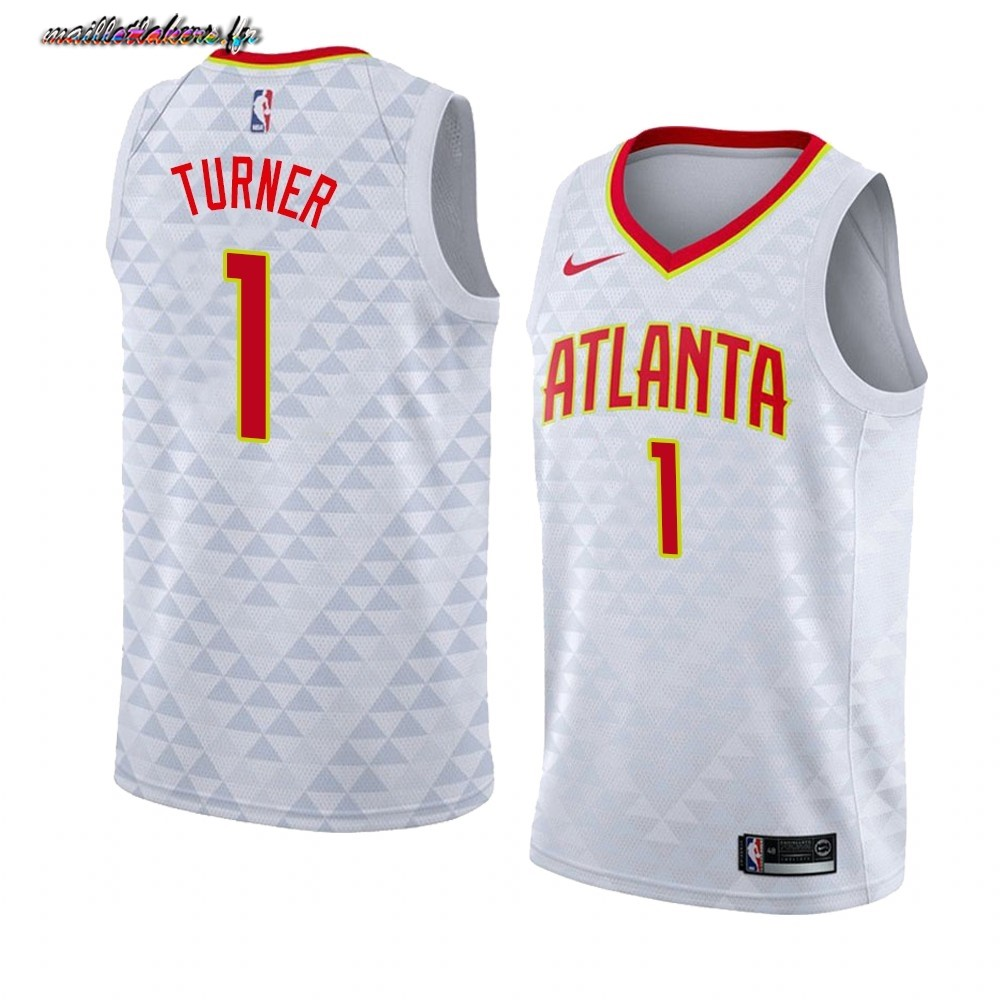 Maillot NBA Nike Atlanta Hawks NO.1# Evan Turner Blanc Association 2019-20
