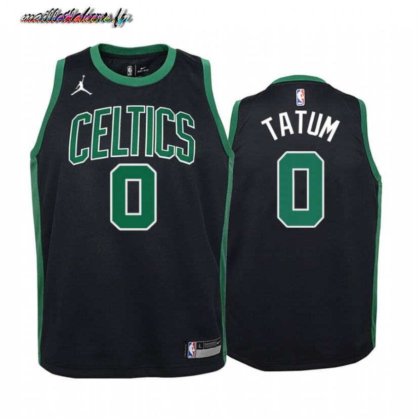 Maillot NBA Enfant Boston Celtics NO.0 Jayson Tatum Noir Statement 2020-21 Pas Cher