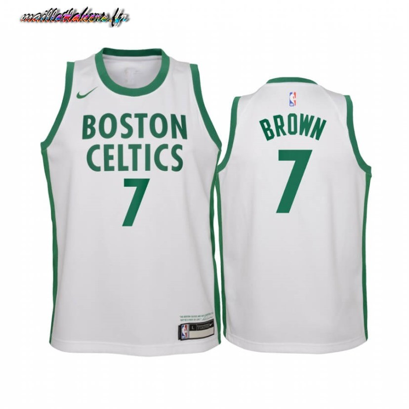 Maillot NBA Enfant Boston Celtics NO.7 Jaylen Brown Blanc Ville 2020-21 Pas Cher