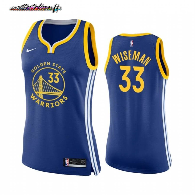Maillot NBA Femme Golden State Warriors NO.33 James Wiseman Bleu Icon 2020-21 Pas Cher