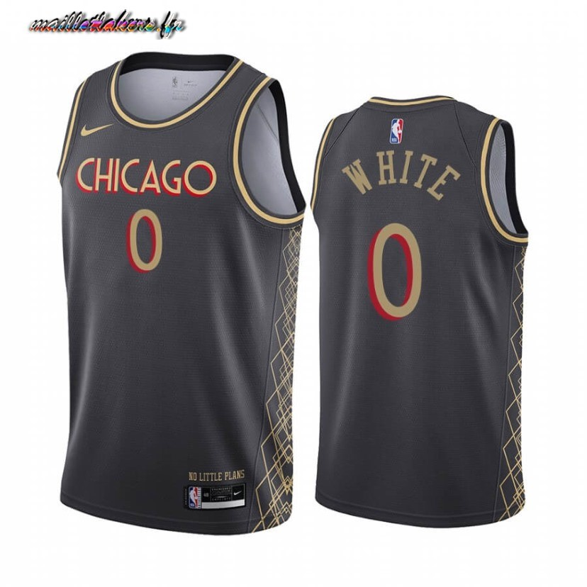 Maillot NBA Nike Chicago Bulls NO.0 Coby White Nike Noir Ville 2020-21 Pas Cher