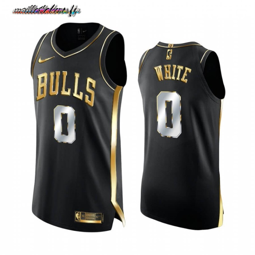 Maillot NBA Nike Chicago Bulls NO.0 Coby White Noir Or 2020-21 Pas Cher
