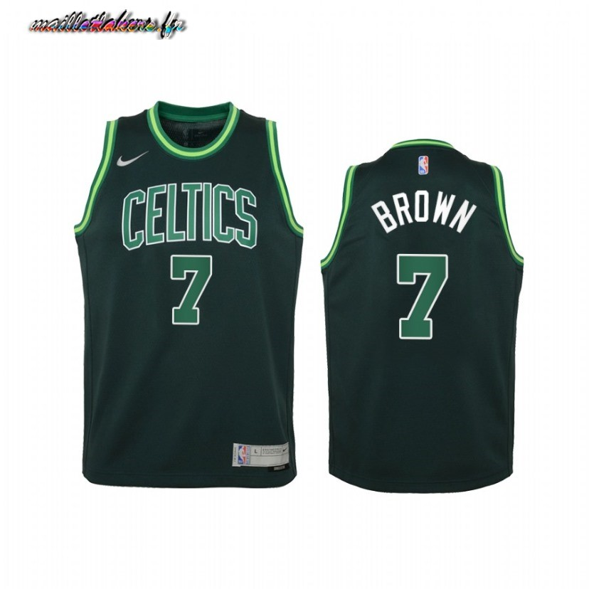 Maillot NBA Enfant Earned Edition Boston Celtics NO.7 Jaylen Brown Vert 2021 Pas Cher