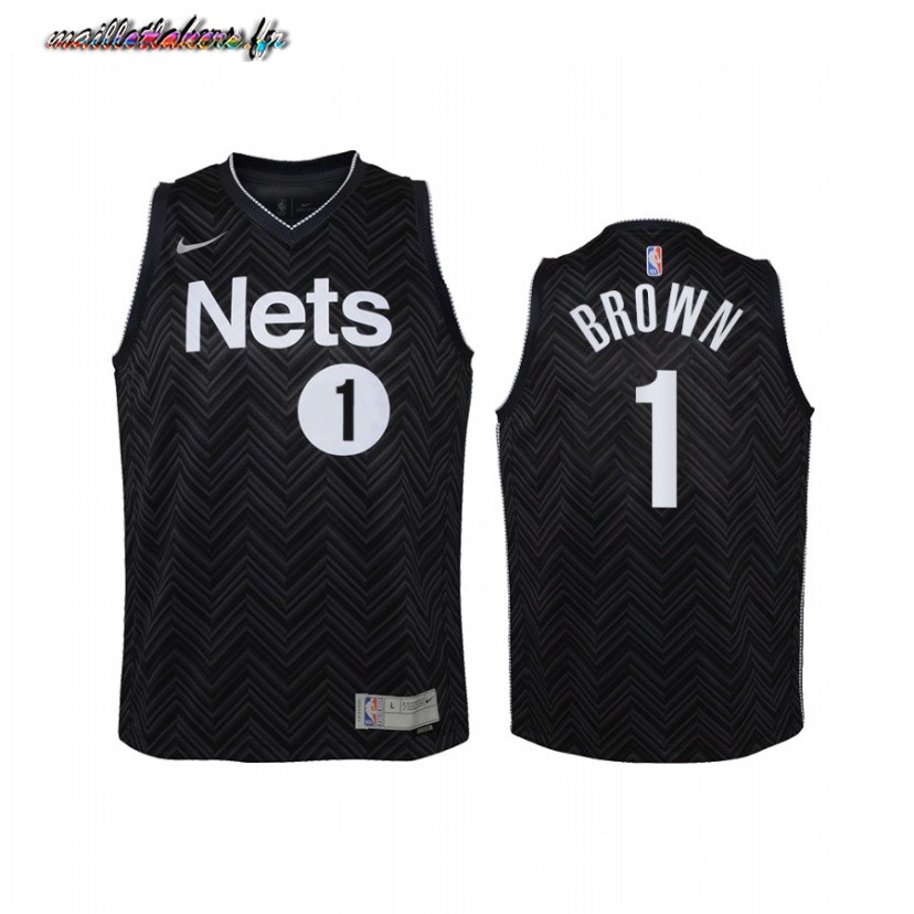 Maillot NBA Enfant Earned Edition Brooklyn Nets NO.1 Bruce Brown Noir 2021 Pas Cher