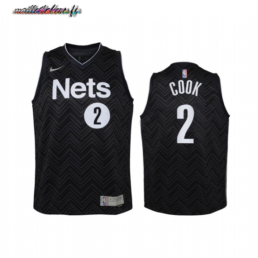 Maillot NBA Enfant Earned Edition Brooklyn Nets NO.2 Tyler Cook Noir 2020-21 Pas Cher