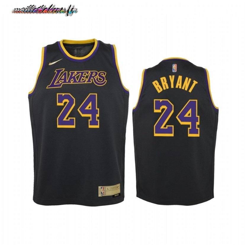Maillot NBA Enfant Earned Edition Los Angeles Lakers NO.24 Kobe Bryant Noir 2021 Pas Cher