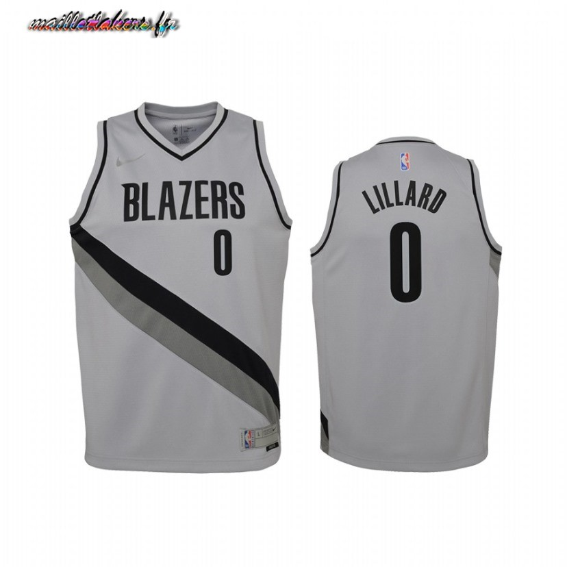 Maillot NBA Enfant Earned Edition Portland Trail Blazers NO.0 Damian Lillard Gris 2021 Pas Cher